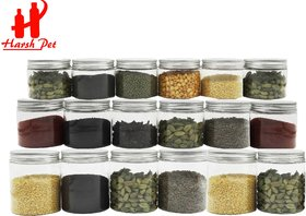 HARSH PET Premium Liner Plastic Kitchen Storage Container Set of 18 (6x 100ml, 6x 180ml and 6x 250ml)