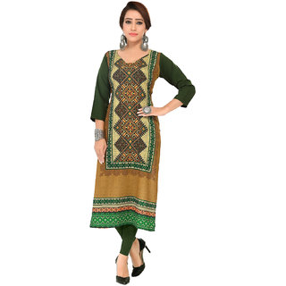 Manisha Fashion Women's Crepe Green Printed Kurti