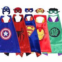 Kaku Fancy Dresses Superhero Robe For Kids/ Superhero Cape for Kids Halloween Party - Pack of 5