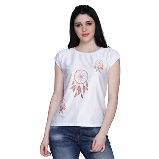 Manisha Fashion Women's White Spring Poly Lycra Printed T-shirt