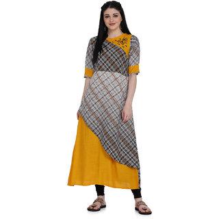 Manisha Fashion Women's Rayon Yellow Printed Kurti