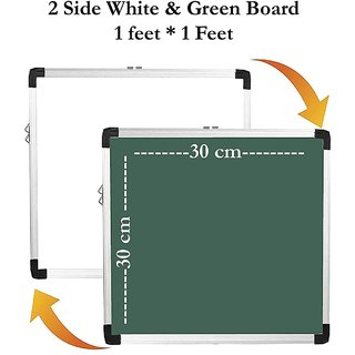 Non-Magnetic 1X1 Feet Double Sided Both Side Writing one Side White Marker and Reverse Side Chalk Board Surface