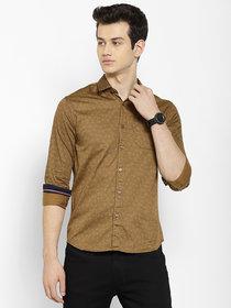 Cape Canary Men's Cotton Brown Spread Collar Shirt