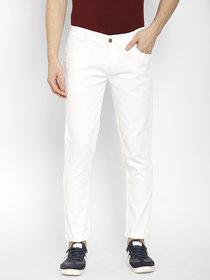 Cape Canary Men's White Cotton Lycra Denim Mid-Rise Slim Fit Jeans