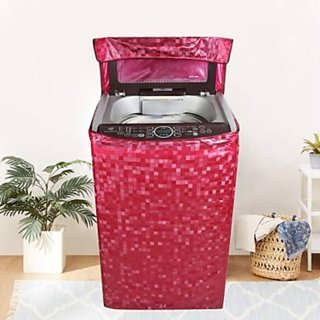 Fabfurn Waterproof Top Load Washing Machine Cover (Size  Suitable for 6 kg to 7 kg, Color  Red)