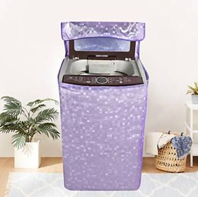 Fabfurn Square Design PVC Top Load Fully Automatic Washing Machine Cover - Purple (Size  Suitable for 6 kg to 7 kg)