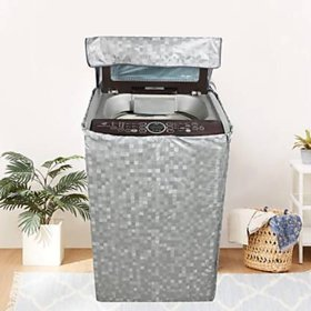 Fabfurn Waterproof Top Load Washing Machine Cover (Size  Suitable for 6 kg to 7 kg, Color  Grey)
