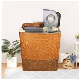 Fabfurn Semi Automatic Washing Machine Cover in 3D Square Design Brown Color (Suitable for 6 kg, 6.5 kg, 7 kg)