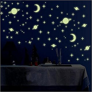 Bikri Kendra - Stars Fluorescent Night Glow Radium Wall Sticker (Pack of 134)