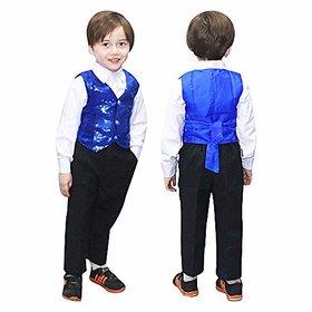 Kaku Fancy Dresses Blue Waistcoat for Kids/ Blue Jacket for Kids