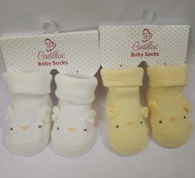 AFFIX  ENTERPRISES  Cartoon Face Socks for Baby Girl and Boy (0-6 Months),Multicolor Set- 2