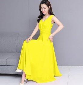 Westchic Women's Yellow V-Neck Long Dress