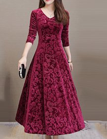 Westchic Maroon Printed A Line Dress For Women