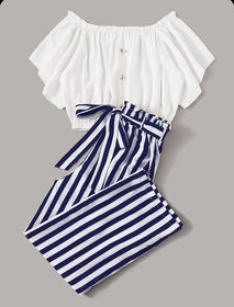 Westchic Combo Of Women Navy Striped Casual Pant & White Off Shoulder Top