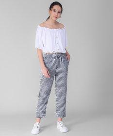 Westchic Women's Navy Straip Pajama & White Top Combo