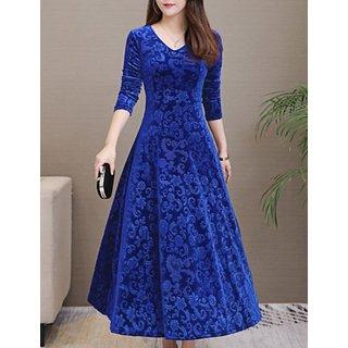 Westchic Women's Royal Blue Printed Velvet Dress