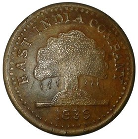 ONE ANNA 1839 EAST INDIA CO.ASHOK TREE COPPER TOKEN COIN