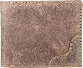 DAANKIE Men Brown Original Leather RFID Wallet 8 Card Slot 2 Note Compartment
