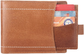 DAANKIE Men Brown Pure Leather RFID Wallet 11 Card Slot 2 Note Compartment