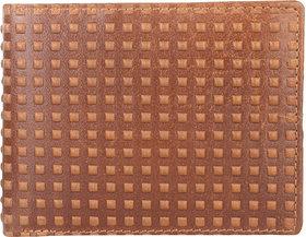 DAANKIE Men Brown Genuine Leather RFID Wallet 3 Card Slot 2 Note Compartment
