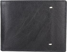 DAANKIE Men Black Original Leather RFID Wallet 8 Card Slot 2 Note Compartment