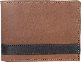 DAANKIE Men Brown Genuine Leather RFID Wallet 13 Card Slot 2 Note Compartment