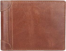 DAANKIE Men Brown Original Leather RFID Wallet 3 Card Slot 2 Note Compartment