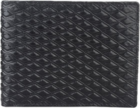 DAANKIE Men Black Original Leather RFID Wallet 3 Card Slot 2 Note Compartment
