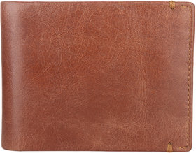 DAANKIE Men Brown Pure Leather RFID Wallet 3 Card Slot 2 Note Compartment