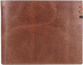DAANKIE Men Brown Genuine Leather RFID Wallet 6 Card Slot 2 Note Compartment