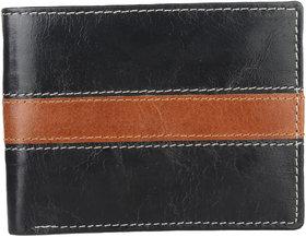 DAANKIE Men Black Original Leather RFID Wallet 6 Card Slot 2 Note Compartment