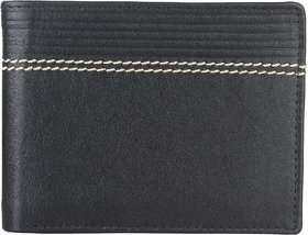 DAANKIE Men Black Pure Leather RFID Wallet 3 Card Slot 2 Note Compartment