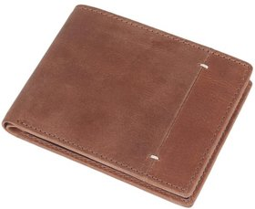 DAANKIE Men Brown Genuine Leather RFID Wallet 8 Card Slot 2 Note Compartment