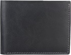 DAANKIE Men Black Genuine Leather RFID Wallet 8 Card Slot 2 Note Compartment
