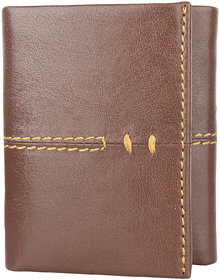 DAANKIE Men Brown Pure Leather RFID Wallet 9 Card Slot 2 Note Compartment