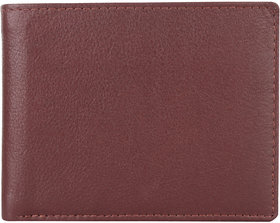 DAANKIE Men Brown Genuine Leather RFID Wallet 4 Card Slot 2 Note Compartment