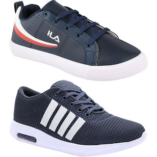 Birde Synthetic Multicolor Casual Shoes For Men (Pack of 2)