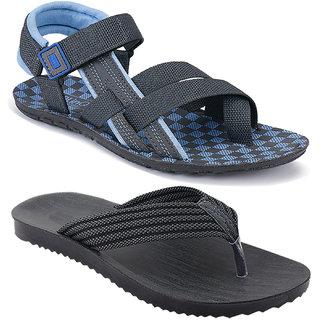 Birde Synthetic Multicolor Sandal For Men (Pack of 2)