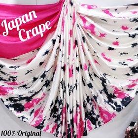 Meia Women's Japan Crep Silk Saree Pure With Blouse Piece