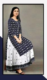 Dhruvi Women Rayon Printed Kurta with Skirt Set