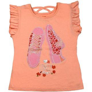 Chhota Bheem Tshirt for kids - Light Orange Round Neck Printed Tshirt with cross back  - Flutter Sleeves Cotton Tshirt for Girls - Stylish Pullovers for Girls  Branded Tshirt for Kids