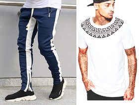 Navy Blue track pant and white round neck t shirt combo
