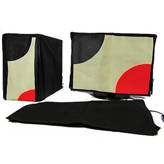 Dust Cover set for Computer and 20 Inch LED LCD Monitor PC Assorted (Red, Black)