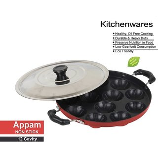 (VIEW SHOPPERS) NON-STICK Cookware Appam Patra/Paniyarrakal/Paniyaram/Appam Pan/Maker/Pan Cake Maker with Lid 24 cm