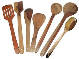 Yuga Wooden Spatula Spoon Set Of 7 Wooden Spatula Brown Kitchen Tool Set (Brown)