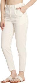Avyanna Women's White Lycra Cigarette Pants