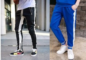 Black and Royal blue track pant with white strap