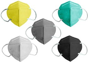TRUE COLORS 5 Layer Anti Pollution Protection Reusable N95 Face Mask Assorted Color (Pack Of 5)