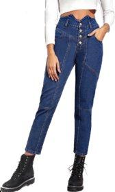 TNQ Women Denim Jeans With Front Button Detailing/Straight Fit Denim