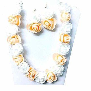 VR Boss Fashion Bridal Mehandi Moti Haldi Occasional Floret Handmade White Flower Jewellery Set